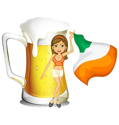 A girl holding a flag in front of a large glass of vector image