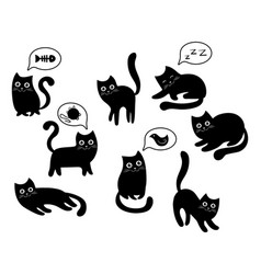 a set of black cats a collection of cartoon cats vector image