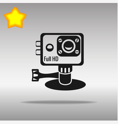 action camera black icon button logo symbol vector image