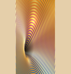 banner wormhole 3d gold geometric optical illusion vector image