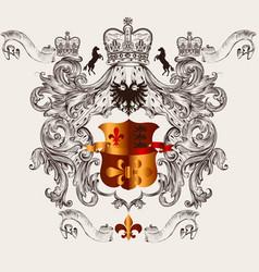 beautiful heraldic design with shield crown vector image