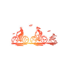 bicycle walk sport family active concept hand vector image
