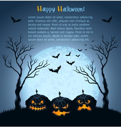 Blue halloween background with pumpkins vector