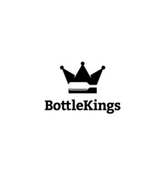bottle with crown or king logo concept vector image