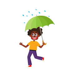 Boy keeping umbrella in hand under rain vector