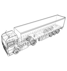 Cargo truck trailer abstract drawing wire-frame vector