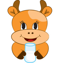Cartoon baby cow vector image