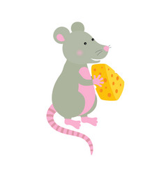 cartoon hand-drawn character mouse with a piece of vector image