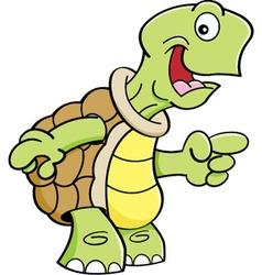 Cartoon Happy Turtle Pointing vector