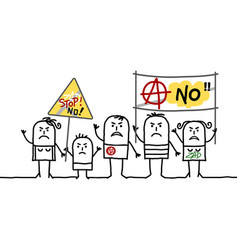 Cartoon protesting anarchist people vector