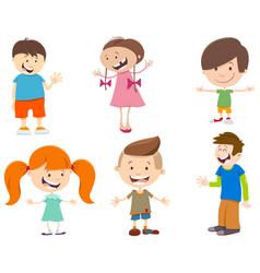cartoon set kid characters vector image