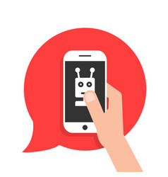 chatbot phone on red speech bubble vector image