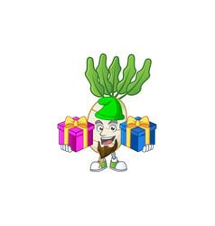 Cheerful daikon cartoon design with christmas gift vector
