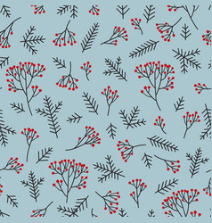 christmas floral seamless pattern winter nature vector image