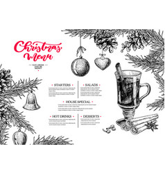 christmas menu winter restaurant and cafe sketch vector image