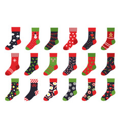 christmas socks cartoon trendy flat clothing vector image