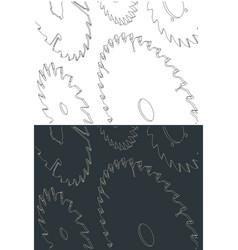 Circular blade saw isometric drawings vector