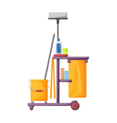 Cleaning trolley iconcartoon vector