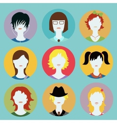 collection of women avatars in flat style vector image