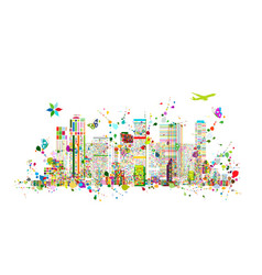 colorful metropolis abstract background for your vector image