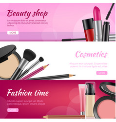 cosmetic banners ads flyers with cosmetics vector image