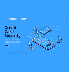 credit card security web banner phone and robot vector image