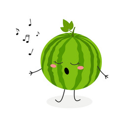 cute cartoon watermelon singer vector image