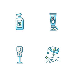 Disinfectant hand sanitizers blue rgb color icons vector