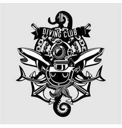 diving club vintage emblem sign with retro vector image