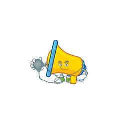 Doctor yellow loudspeaker cartoon character for vector
