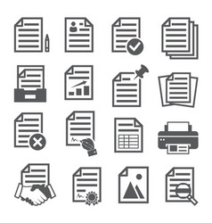 documents icons set on white background vector image