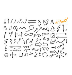 doodle style hand drawn arrows set vector image