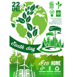Earth day holiday poster with green planet tree vector