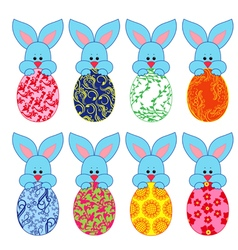 Eight small Bunnies with Easter eggs vector