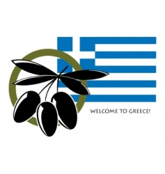 Flag of greece with olives vector