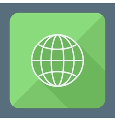 Flat style icon with long shadow Earth globe vector image