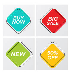 four square retro style sale tags with deal offer vector image