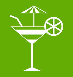 fruit cocktail icon green vector image