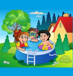 Garden with pool and cartoon kids vector