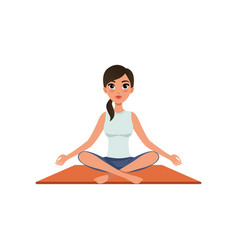 Girl sitting in yoga lotus position beautiful vector