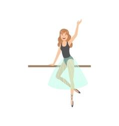 Girl with loose hair in ballet dance class vector