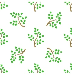 Green Cartoon Tree Leaves Seamless Background vector