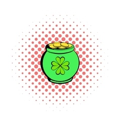 Green pot full of gold icon comics style vector
