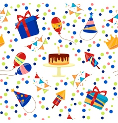 Happy Birthday Seamless Pattern with Cake Balloons vector