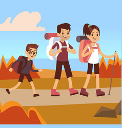 happy family hikers dad mom and son trekking vector image