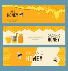 horizontal banners with pictures set of apiary vector image