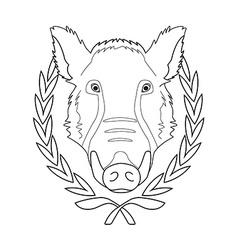 Hunting trophywild boar head in laurel wreath vector