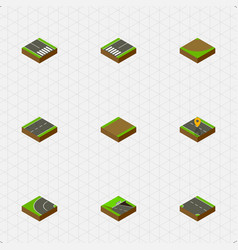 Isometric road set of pedestrian underground way vector