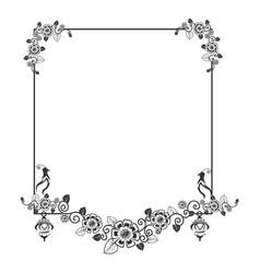 lacy frame with a bird vector image