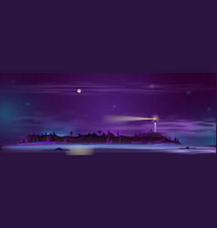 lighthouse at night on hill vector image